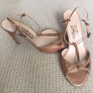 Ferragamo beige sandal pumps size 10.5